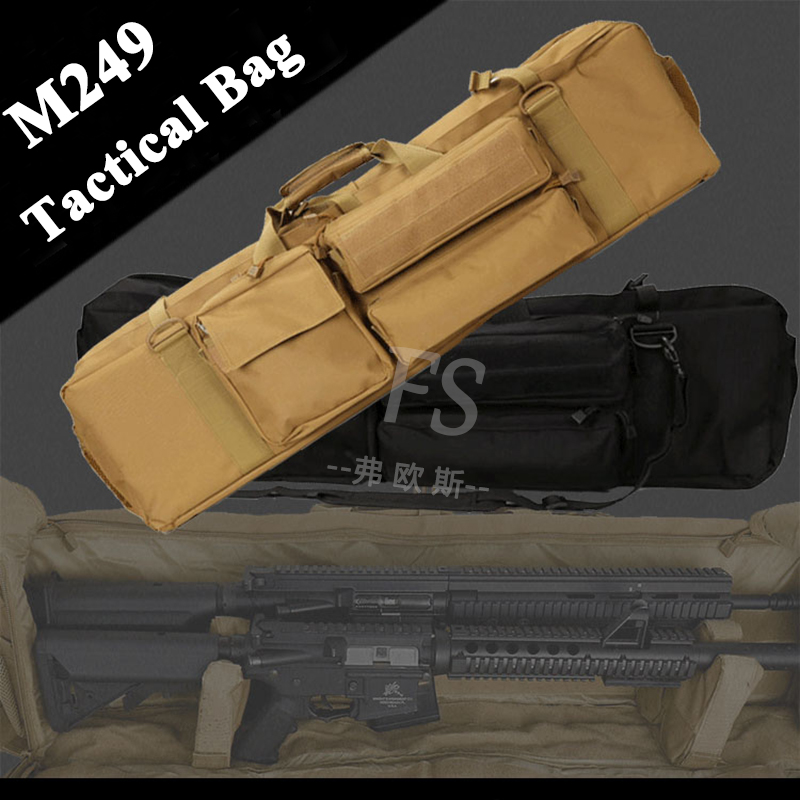 M249 Tactical Hunting Bag Military Airsoft Shooting Rifle Gun Case Large Capacity Shoulder Bag Nylon Gun Holster Pouch-in Holsters from Sports & Entertainment