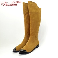 FACNDINLL Genuine Suede Leather Boots Women Square Heel Autumn Winter Knee High Boots Ladies Black Warm