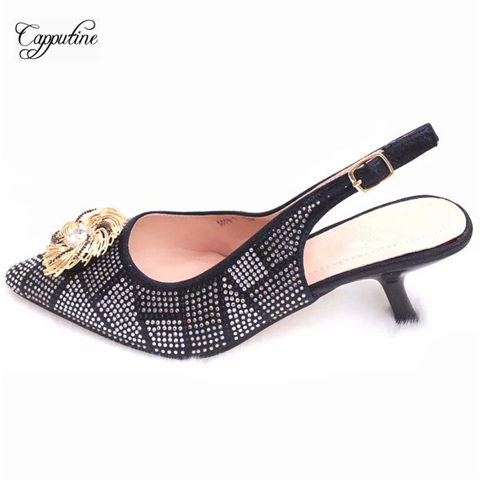 Wholesale price black thin heel shoes latest pumps nice matching for evening dress 6869-1 heel height 8cm image