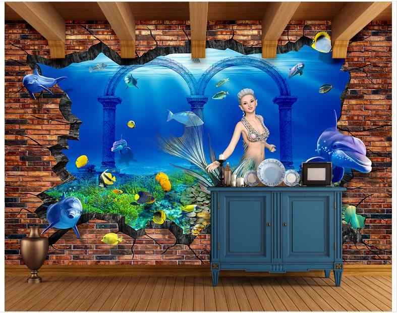 Custom 3d behang voor muren 3 d muurschilderingen behang mural onderwaterwereld mermaid 3 d instelling muur bakstenen muur muurschilderingen decor