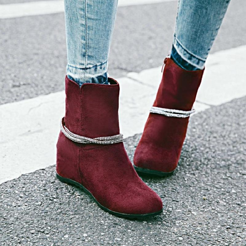 ankle boots for women winter boots women short boot ladies booties red  height increasing martin boots autumn women shoes &A32 women ankle boots 2016 round toe autumn shoes booties lace up black and white ladies short 2017 flat fashion female new chinese