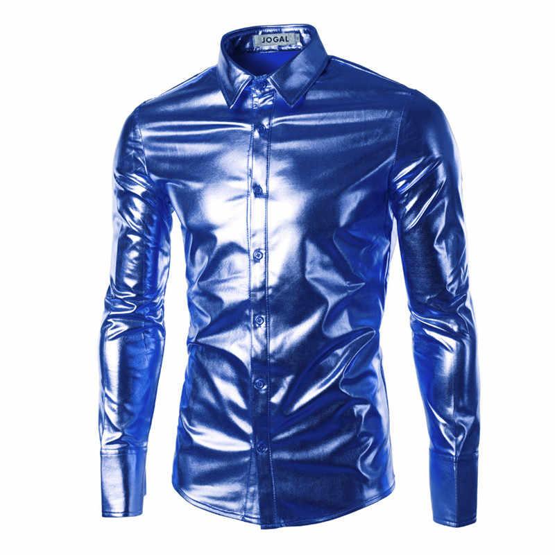 Сценическое танцевальное платье рубашка Slim Fit Мужские рубашки блестящие рубашки с длинными рукавами роскошные черные/Золотые/серебряные мужские рубашки Chemise Homme 2018