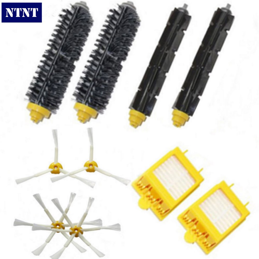 NTNT Bristle & Flexible Beater Brush & Hepa Filter & Side Brush kit Replacement For iRobot Roomba 700 Series 770 780 790 hepa filter side brush kit bristle and flexible beater brush suitable for irobot roomba vacuum parts 700 760 770 780 series