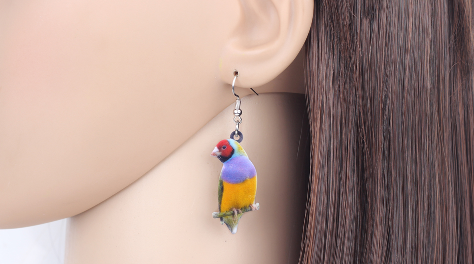 Bonsny Acrylic Flying Voilet Sabrewing Hummingbird Bird Earrings Big Long Dangle Drop Fashion Animal Jewelry For Women Girls Kid 18