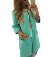 2015 Made New Arrive Trench Solid Candy Color Vacuum Cotton Women Coat With Three Quarter Sleeve