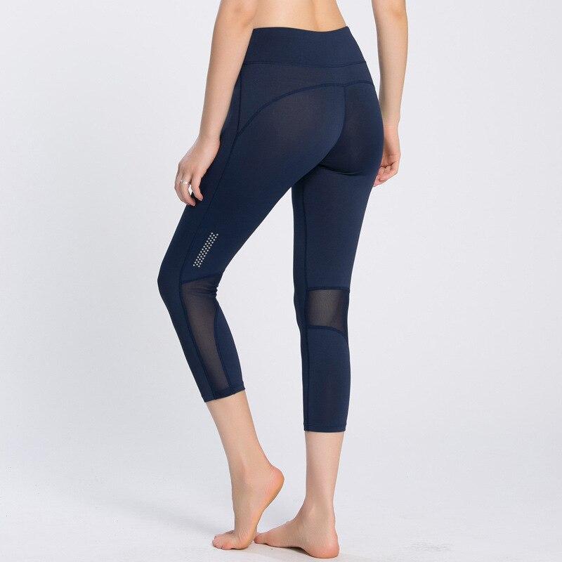 Tight high-elastic sports pants female summer quick-drying women running yoga fitness mesh stitching Capris
