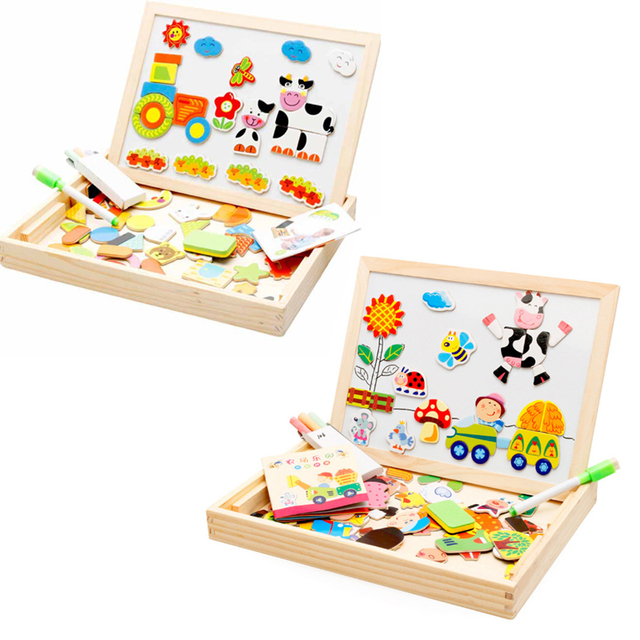 Drawing Writing Board Magnetic Puzzle Double Easel Kid Wooden Toy Sketchpad Gift Children Intelligence Education Development Toy Toys