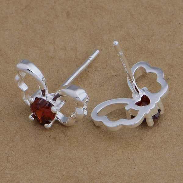 AE664 Hot 925 sterling silver bông tai bạc, 925 bạc trang sức, bướm dát red/ctsalkza bduajvba
