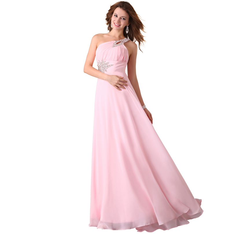 Floor Length Chiffon Bridesmaid Dresses One Shoulder Pink
