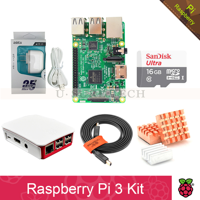 Raspberry Pi 3 Model B board Pi3 kit+power supply 2.5A(EU OR US)+heat sink+ case+16GB TF Card