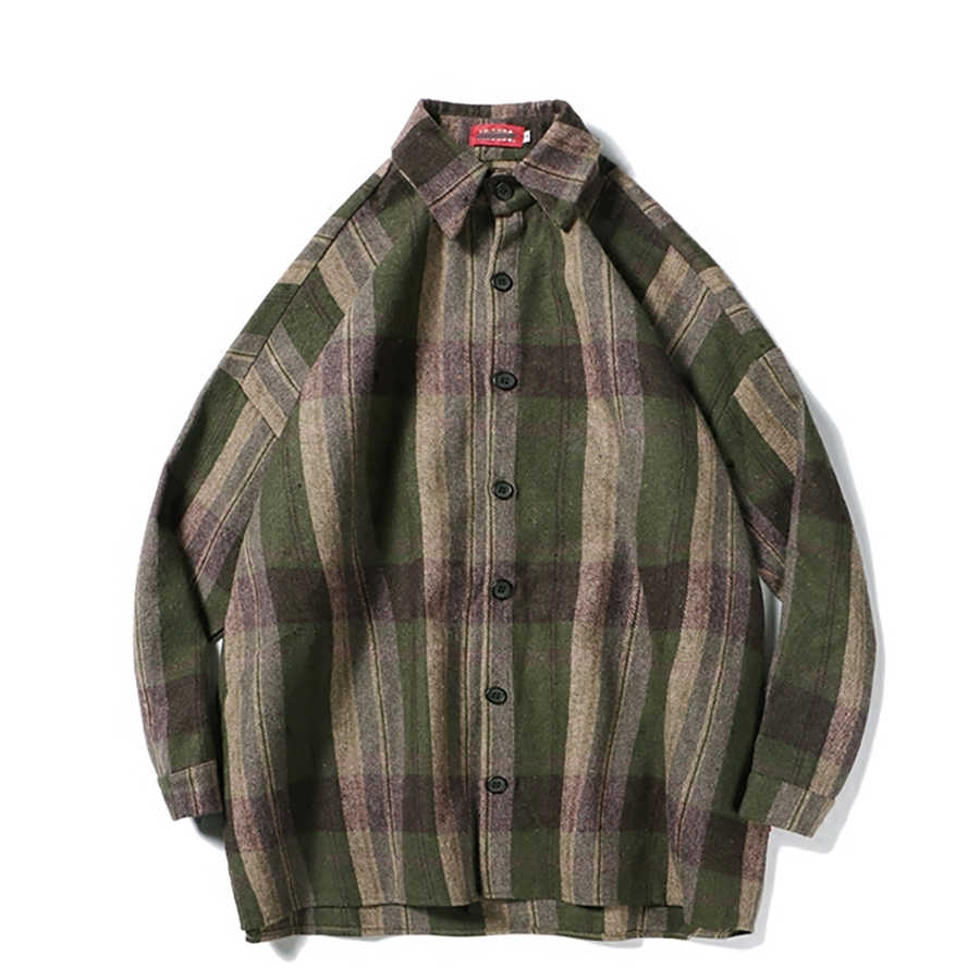 e22fdb36db796f ... Oversized Flannel Vintage Shirt Men Plaid Long Sleeve Check Shirts For Men  Loose Men Button Up ...