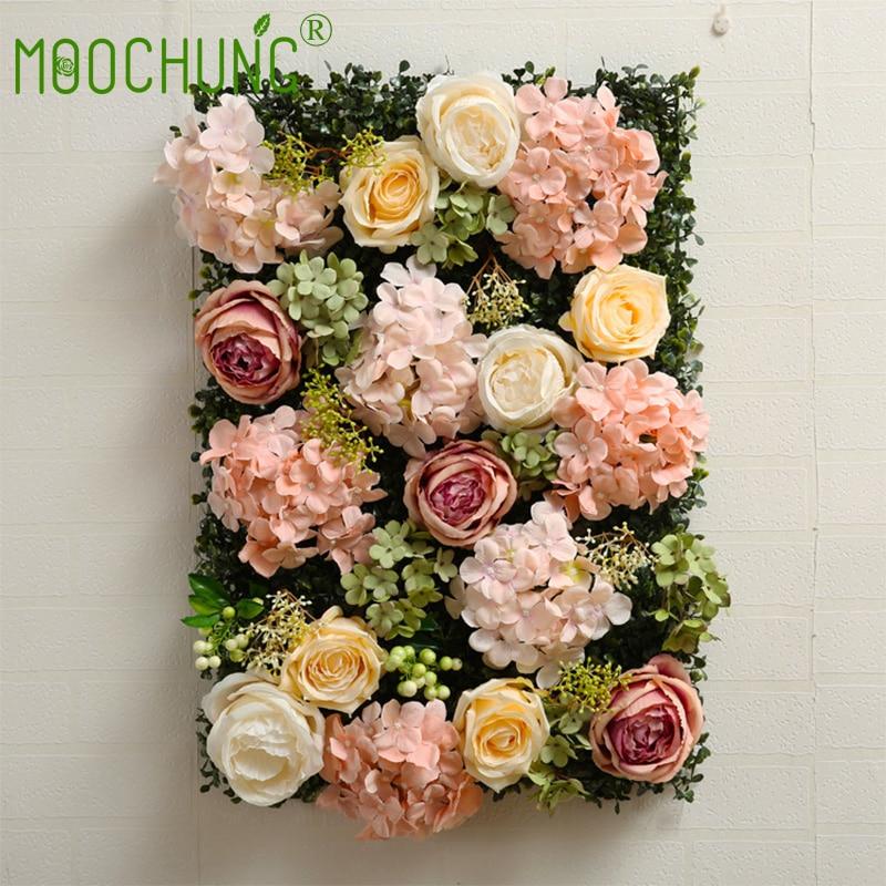 40*60 cm luxe mariage fleur mur fond décoration soie Rose pivoine hortensia romantique décoratif toile de fond MOOCHUNG