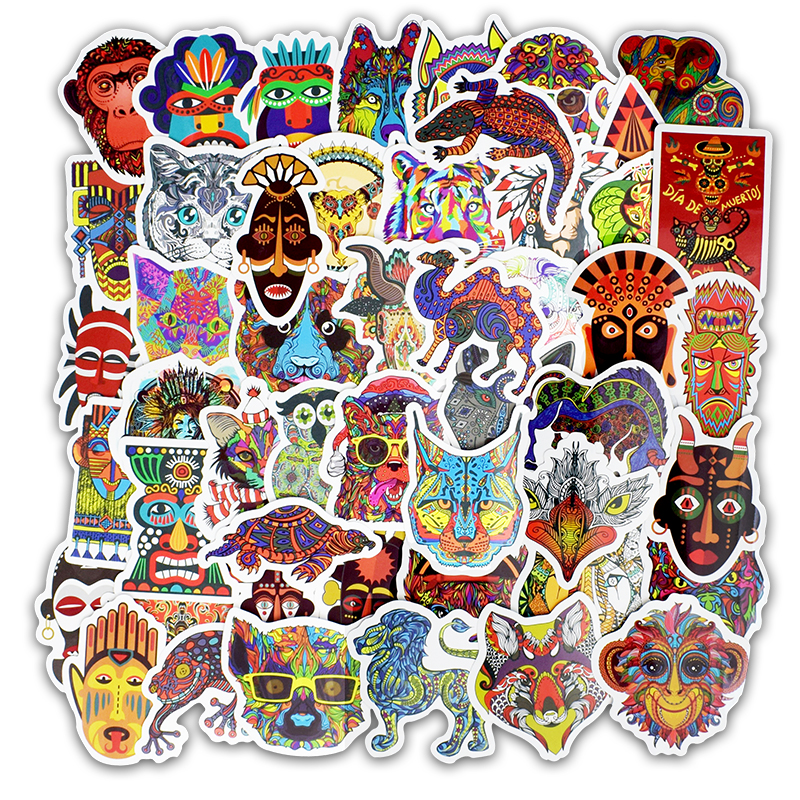 50 PCS Tribe Totem Decal Stickers Animal Tattoo Ethnic Sticker For Laptop Luggage Skateboard Guitar Car Motorcycle Refrigerator Племя