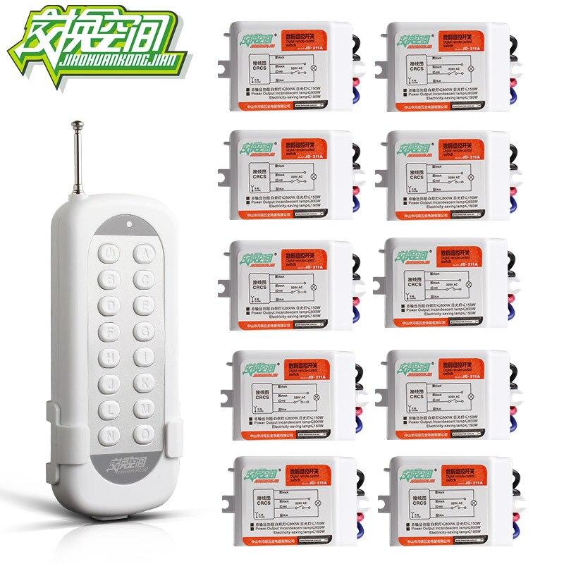 JD211A1N10 With 10 Receivers 10 Ch RF Wireless Remote Control Switch 220V 110V Remote control zndiy bry rf 220v 1 ch remote control switch w controller white black yellow