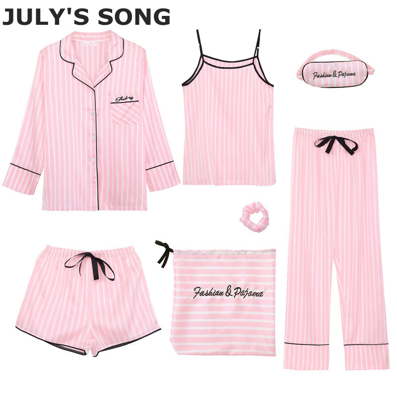 JULY'S SONG Pink Women's Emulation Silk Striped Pajamas 7 Pieces Pajamas Sets  Women Sleepwear Sets Spring Autumn Homewear