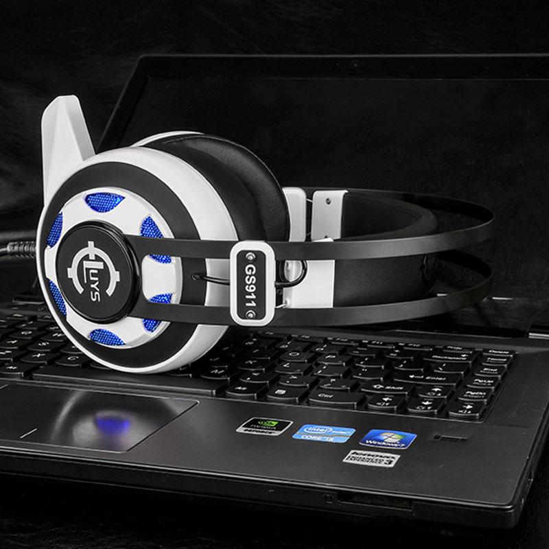 GS911 Gamer Headphone headband headphone internet bar bass gaming headset with led light vibration earphone