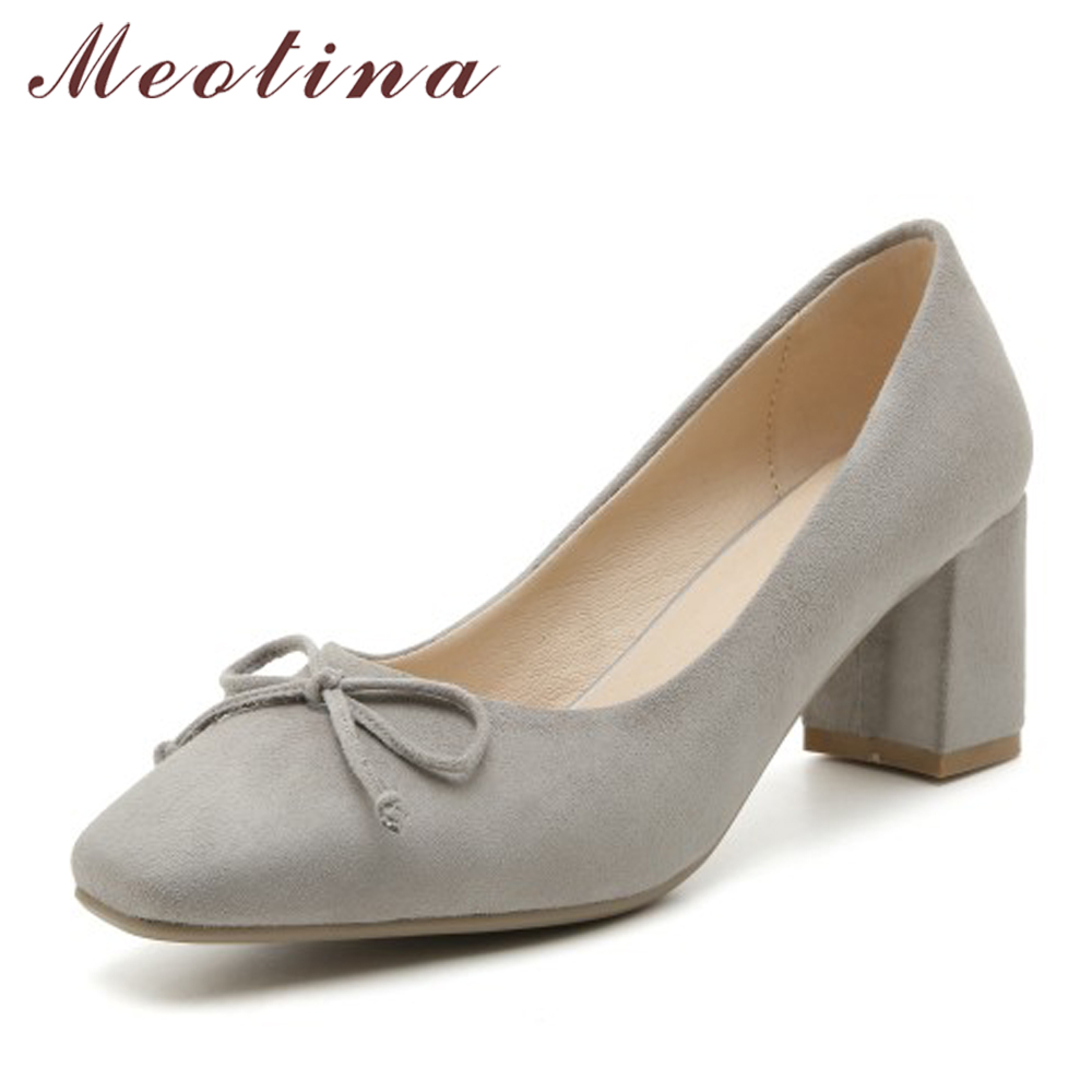 Meotina High Heel Women Pumps Casual Thick Heels Ladies Shoes Autumn Square Toe Bow Women Pump Plus Size 33-43 Chaussure Femme