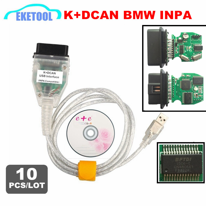 10pcs/Lot Express INPA  K+CAN FT232RL Best Quality Auto Diagnostic Interface For BMW INPA Ediabas OBD2 USB Connector Cable