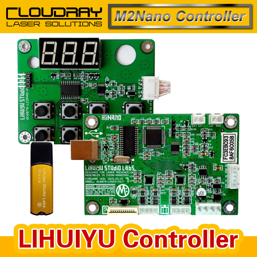 Cloudray LIHUIYU M2 Nano Laser Controller Mother Main Board + Control Panel + Dongle B System Engraver Cutter DIY 3020 3040 K40 co2 laser rubber stamp engraving machine k40 lihuiyu m mother main board control system m2 nano engraver cutter diy 3020 3040