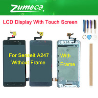 High Quality For Senseit A247 LCD Display Screen+Touch Screen Digitizer Assembly Black Grey Color With Tape&Tool