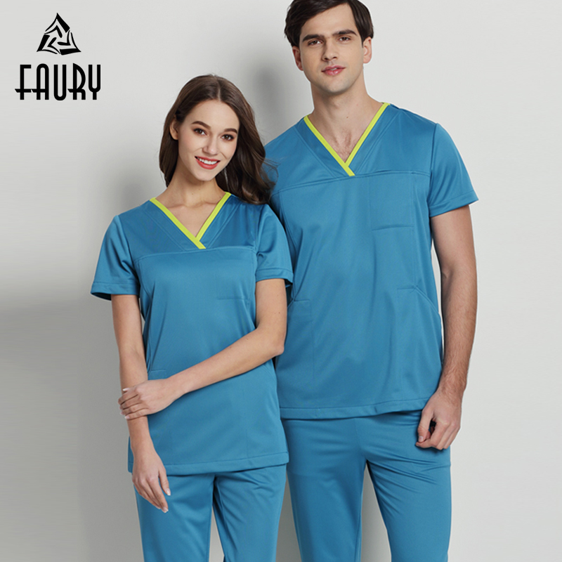 Unisex Doctor Nurse Hospital Surgical Clothing Short Sleeve V-neck Summer Medical Overalls Dental Clinic Work Uniforms Scrub Set