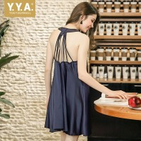 Summer Hot Sexy Sleeveless Spaghetti Strap Backless Women Nightdress Solid Fake Silk Loose Soft Satin Thin Sleepshirts Female