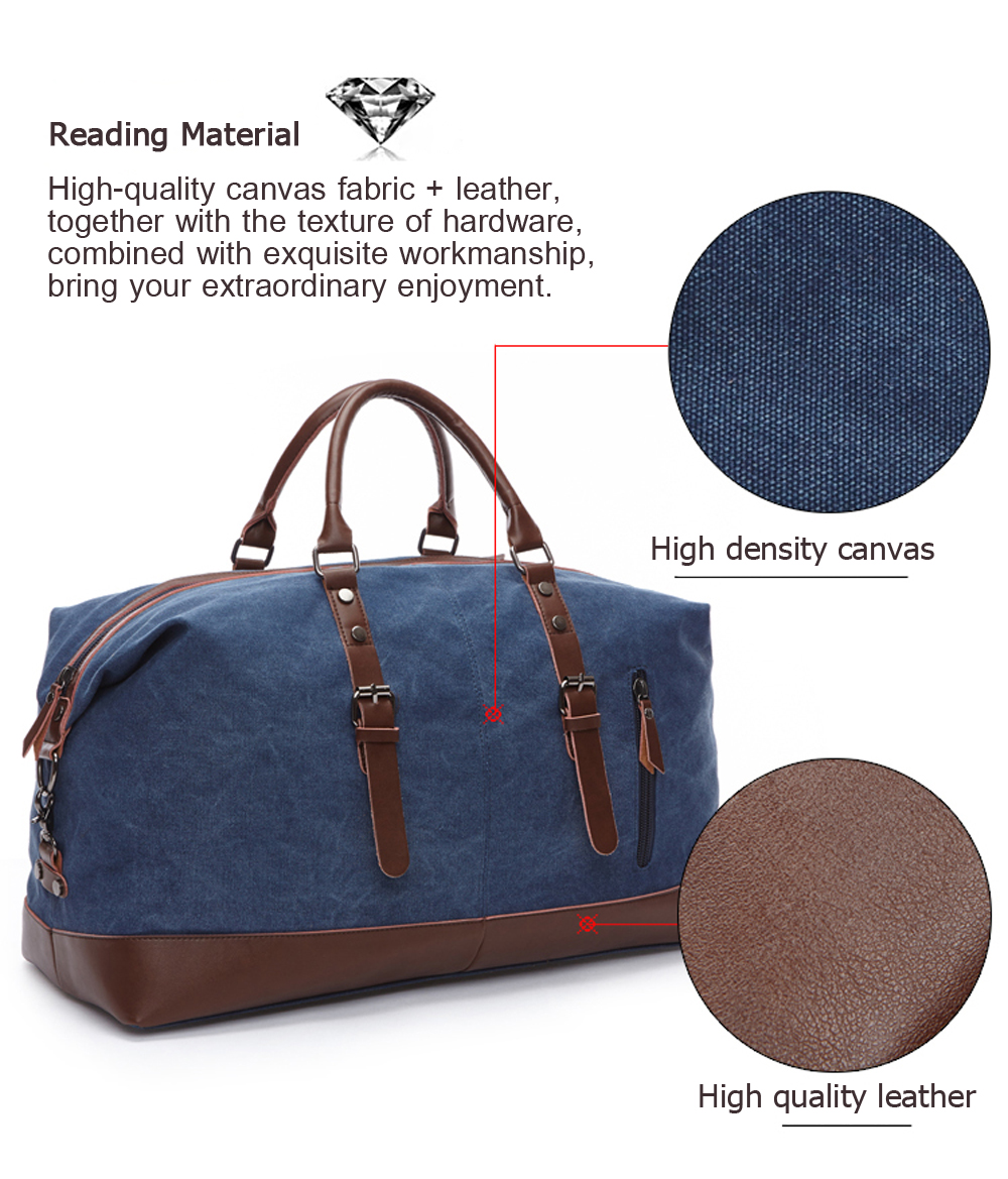 blue navy duffle with a material description