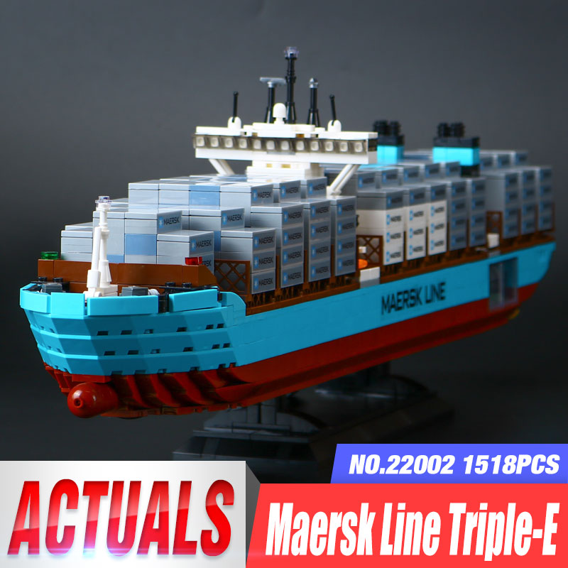 New Lepin 22002 Genuine Technic Series The Maersk Cargo Container Ship Set 10241 Building DIY Blocks Bricks KID Educational Toys 22002 genuine technic series the maersk cargo container ship set 10241 building educational toys lepin