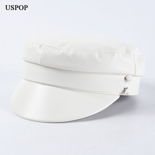 USPOP 2019 New autumn winter hat for women solid color PU newsboy caps White vintage visor flat top military