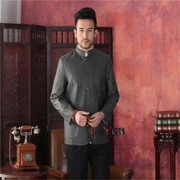 2016 New Gray Light Gray Male Cotton Linen Reversible  Overcoat Chinese Style Solid Jacket Chinese tunic suit S M L XL XXL XXXL