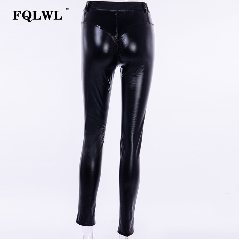 FQLWL Punk Bodycon Faux Pu Leather Pants Women Push Up Black High Waist Pants Female Autumn Winter Trousers Women Sexy Pants 18