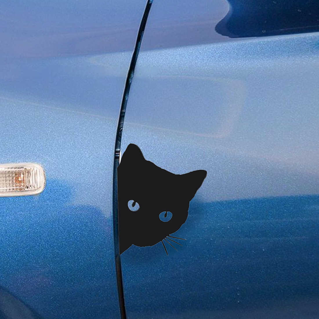 Dewtreetali 12*15 CM chat visage PEERING voiture autocollant décalcomanies Pet chat moto autocollants décoratifs voiture fenêtre décalcomanies