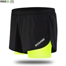 WOSAWE Cycling Fake 2 Pieces Shorts Quick Dry Mens Sports Running Training Exercise Jogging With Longer Liner