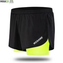 WOSAWE Cycling Fake 2 Pieces Shorts Quick Dry Mens Sports Running Shorts Training Exercise Jogging Shorts With Longer Liner barcelona longer knit shorts 2014 2015 black pink
