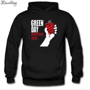 Image 3 - グリーン印刷パンクロックパーカー男性女性フリース長袖ヒップホップトレーナープルオーバーストリートスケートボードパーカー