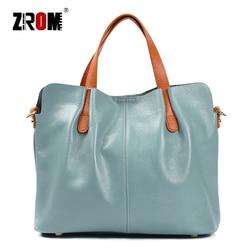 ZROM Brand Genuine Leather Women Handbag High Quality Fashion Ladies Shoulder Bag Solid Color Top-handle Bag Handbag