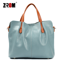 ZROM Brand Genuine Leather Women Handbag High Quality Fashion Ladies Shoulder Bag Solid Color Top handle Bag Handbag