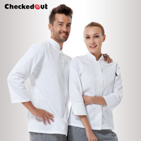 Cook suit long sleeve autumn and winter double breasted cook clothes white work wear short sleeve uniform