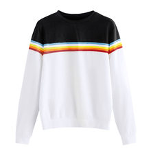 CHAMSGEND Damesmode Wit Gestreepte Colorblock Lange Mouwen Capless Colbert Korte Casual Trui Losse Training Top(China)