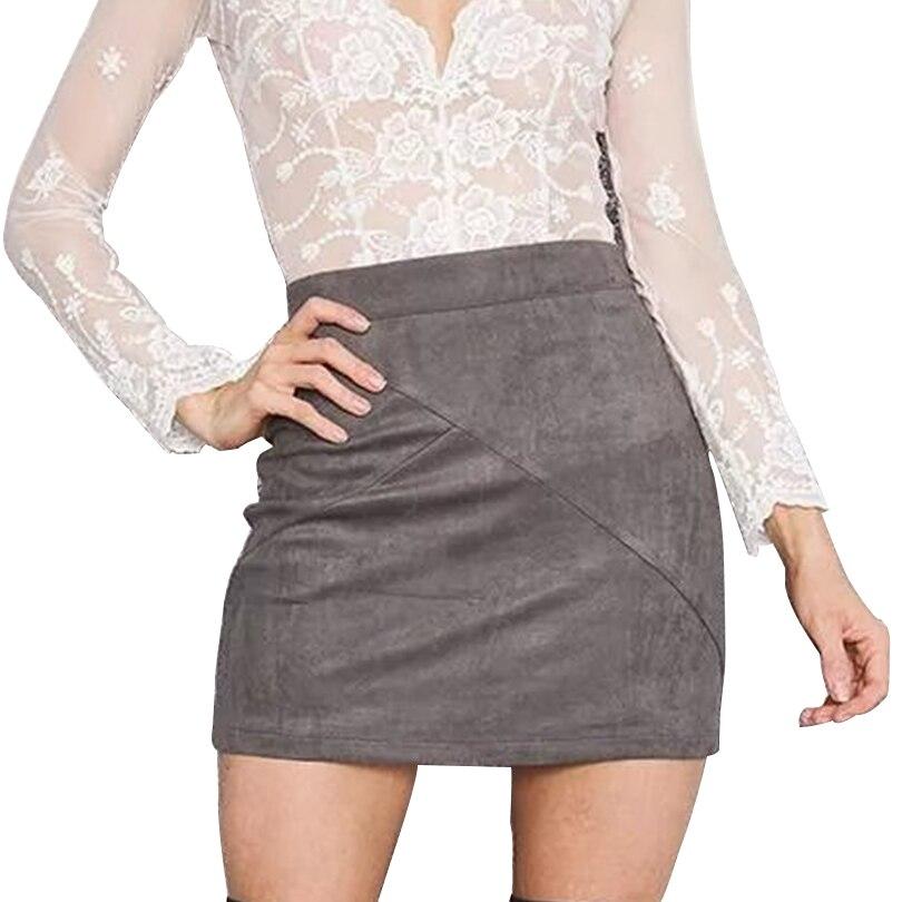 High Waist Pencil Skirt Kvinner Suede Tight Bodycon Sexy Short Mini - Kvinneklær - Bilde 5