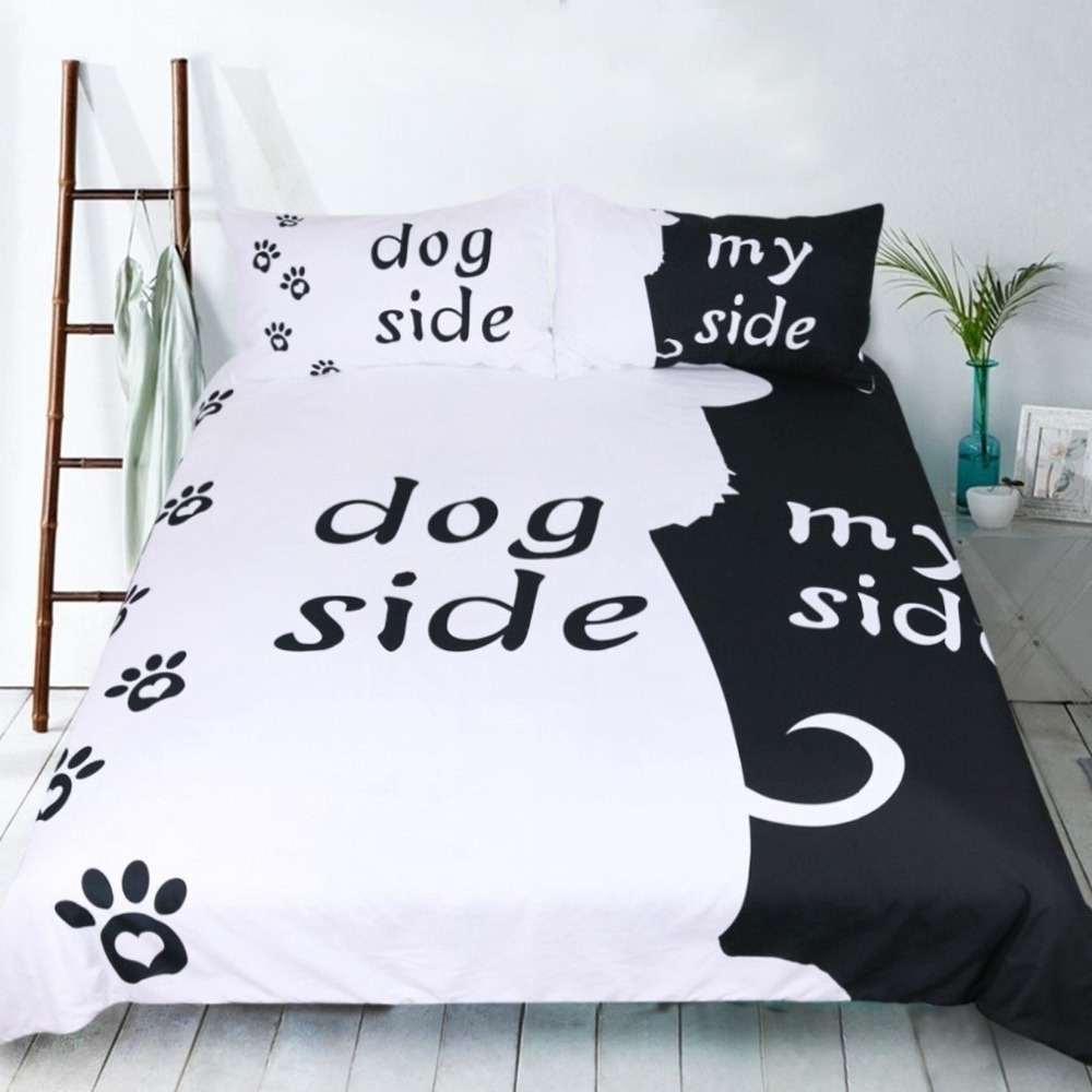 Cartoon Bedding Set For Adults Lovers Quilt Cover Set Dog Side And My Side Comforter Cover Pet Footprint Black White Bedclothes