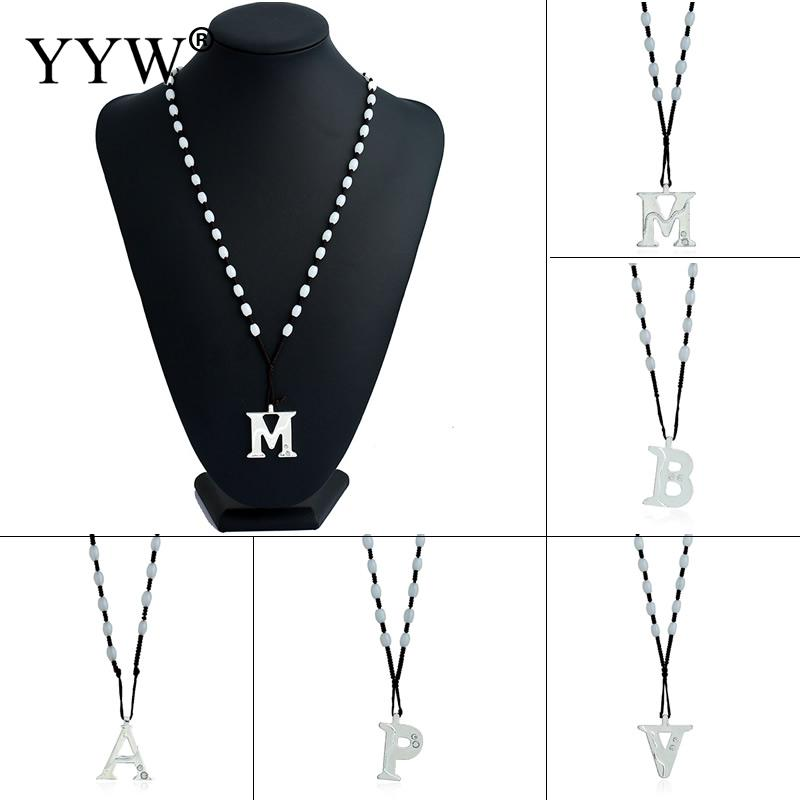 2016 New Arrival Women Pendant Necklaces New Fashion Letter A/B/V M/V/P Sweater Chain Crystal Pendant Necklace Long