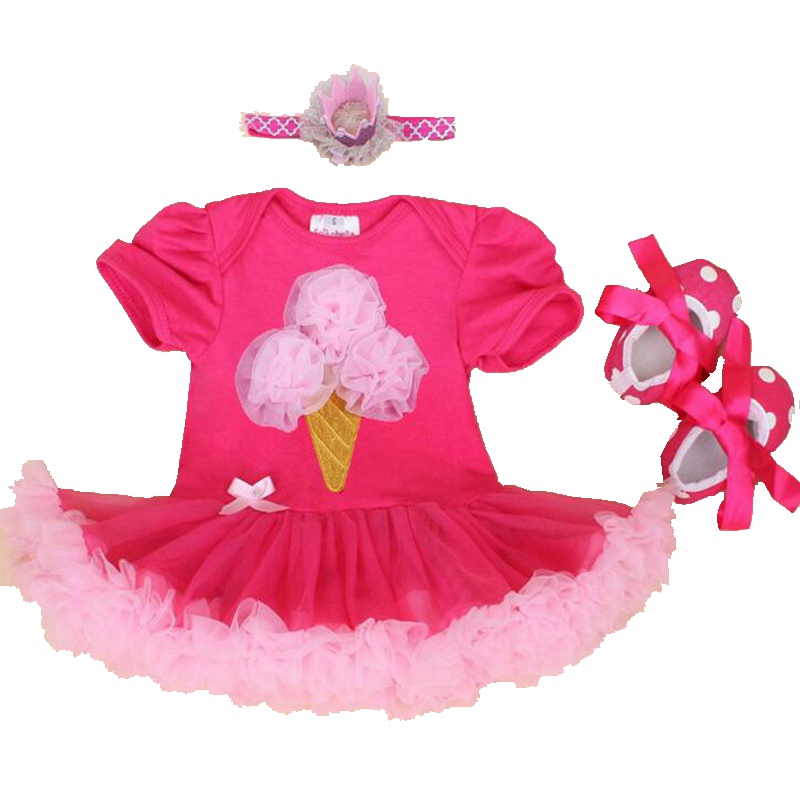 Ice Cream Applique New 2018 Baby Girl Summer Clothing Sets Lace Petti Romper Dress Crib Shoes Headband 3PCS Newborn Tutu Sets
