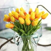 10 unids/set PU Mini Tulipán atar la cinta festiva atmósfera vestido de la celebración de flores artificiales de seda de flores de la boda decoración del hogar