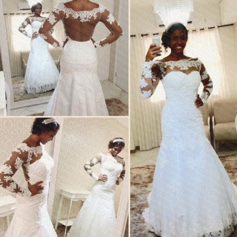 2019 Boat Neck Off The Shoulder Illusion Mermaid Lace