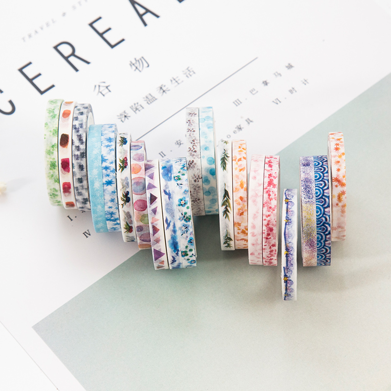 5mm*7m Snowflake Plant Kawaii Planner Handbook Decorative Paper Slim Washi Masking Tape School Supplies Stationery