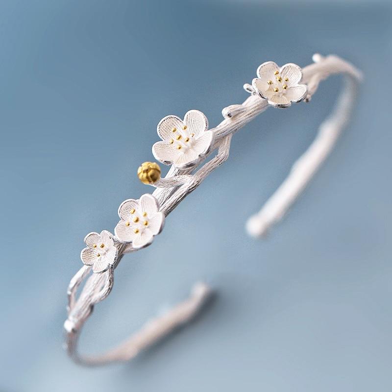 925 Sterling Silver Bracelets Bangles For Women Femme Creative Plum Blossom Bracelet Bangle Female Artistic Flower Jewelry Gift