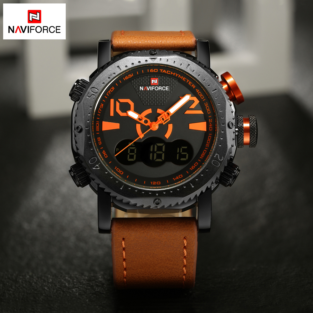 Top Luxury Brand NAVIFORCE Men Sport Watches Mens Quartz Analog Digital Wrist Watch Waterproof Male Clock Relogio Masculino cocoshine a908 mens luxury army sport wrist watch waterproof analog quartz watches wholesale free shipping