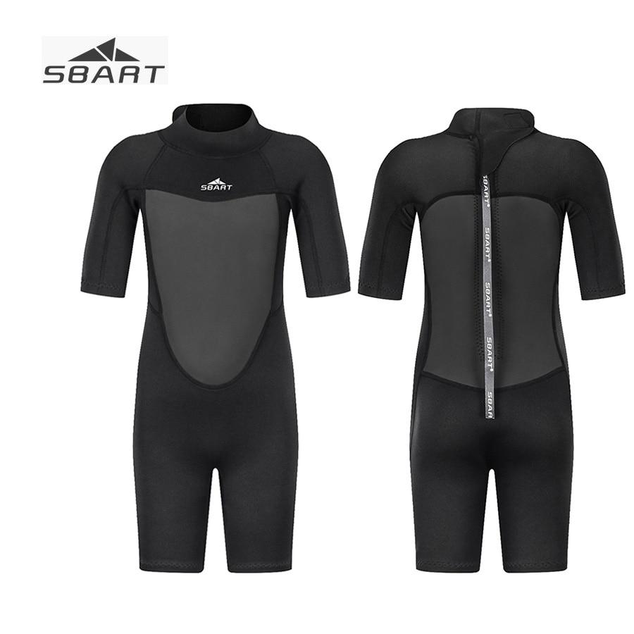 Sbart 2019 2mm Boys Girls Neoprene Short Wetsuit for Children 2 12Y Kids Full Black Diving