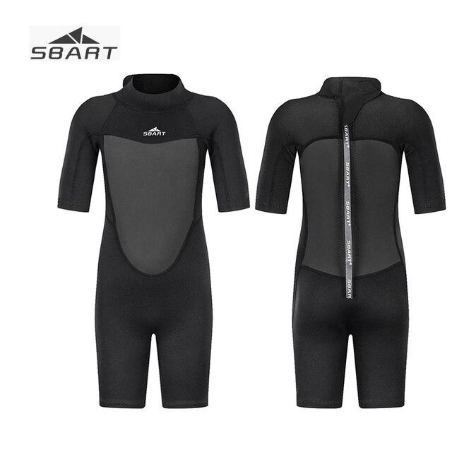 d492b80c6e8d Sbart 2019 2mm niños niñas neopreno traje de corto para 2 12Y buceo negro  completo baño térmico mono